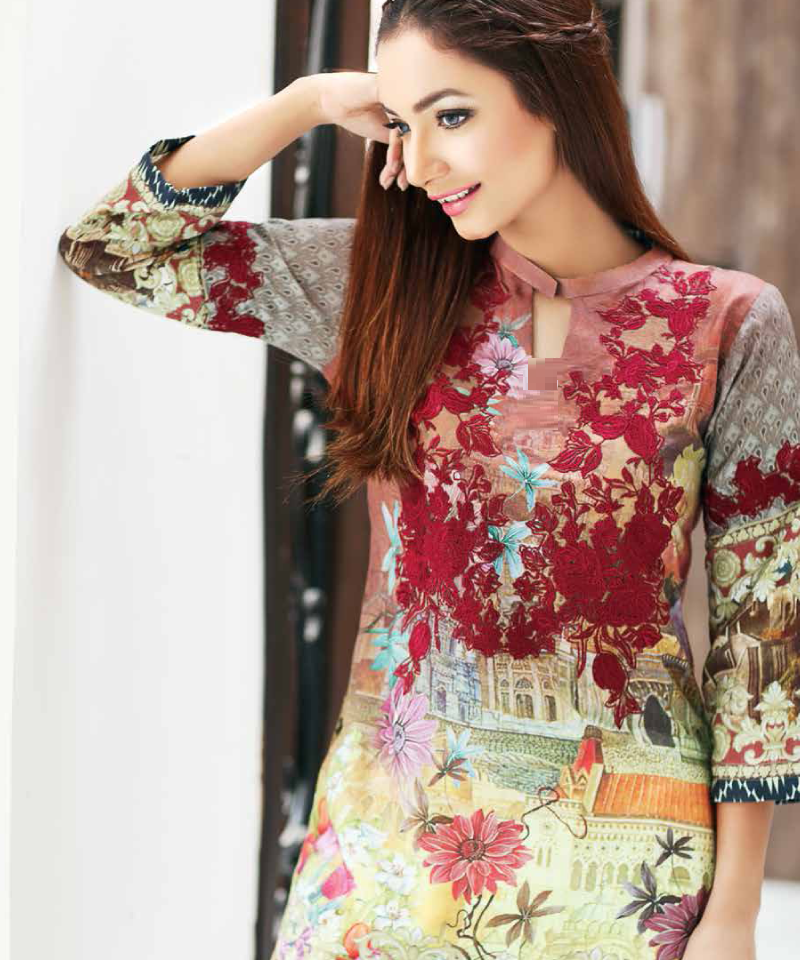 digital printed viscose shirt with tissue patch on neckline