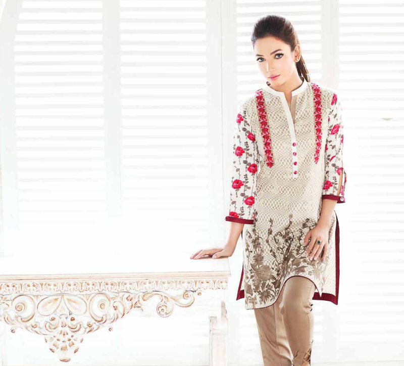 skin and red embroidered winter dress for winters 2017