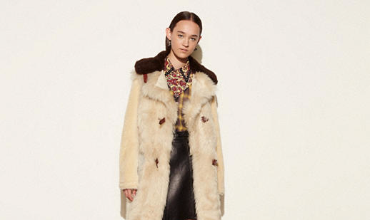 White Mix Shearing Coat by coach fall 16 collection