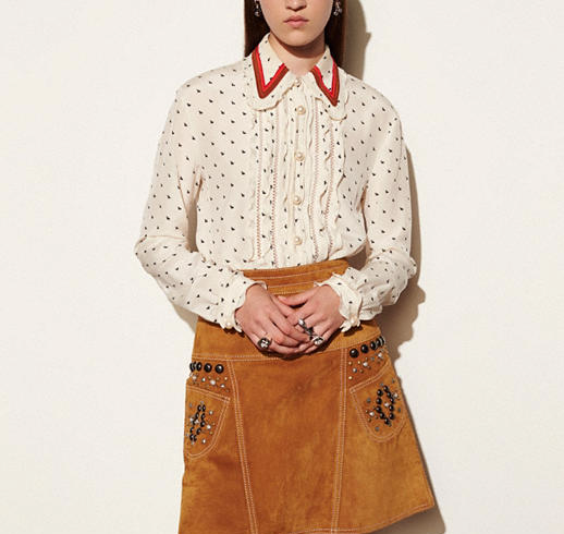 Mini Bunny Print Shirt With Ruffle for girls