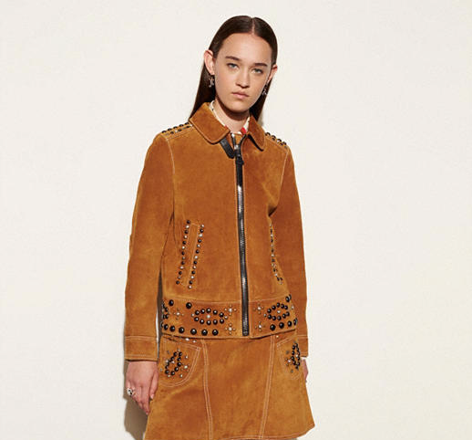 Camel Colored Suede Jacket With Studs