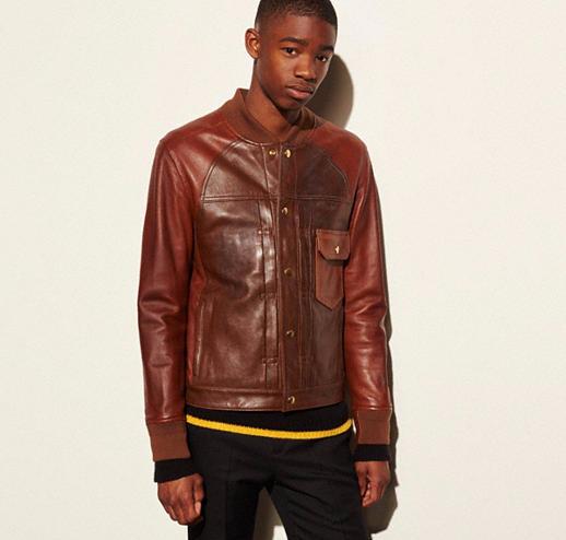 Washed Leather Stringer Jacket for fall
