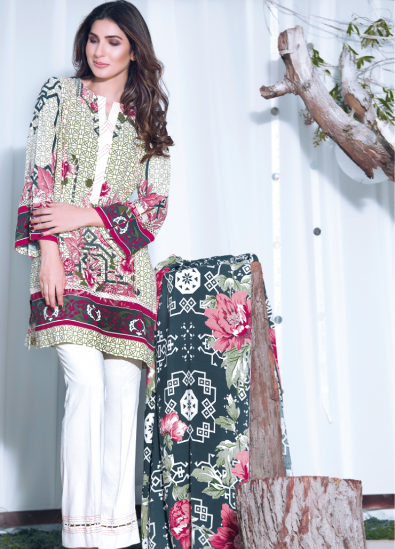pink and green printed linen firdous outfit