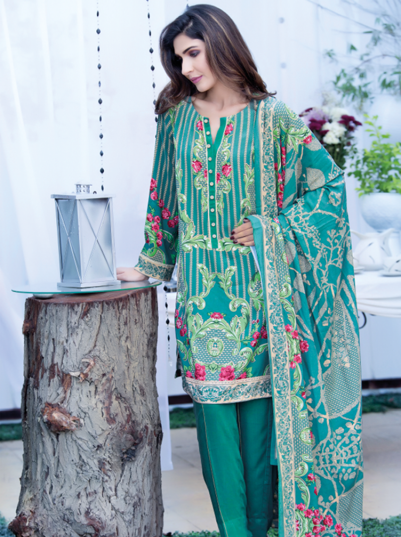 Firdous fashion zinc and green combination of korean linen dress