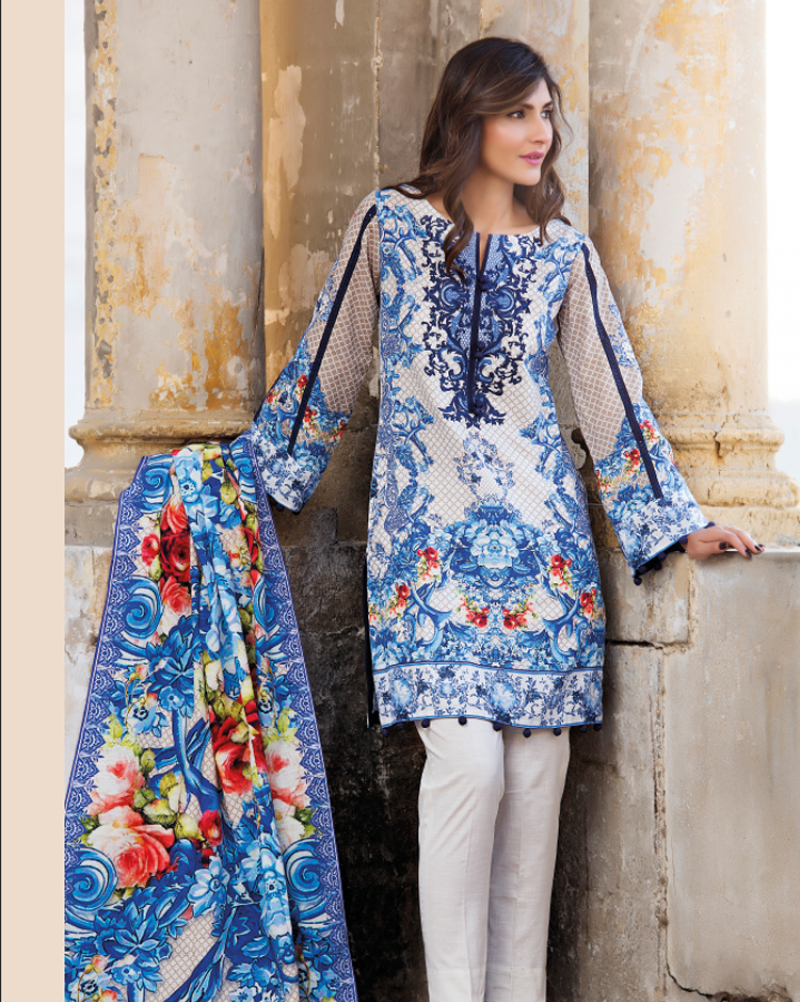 Firdous khaddar winter blue dress 2017