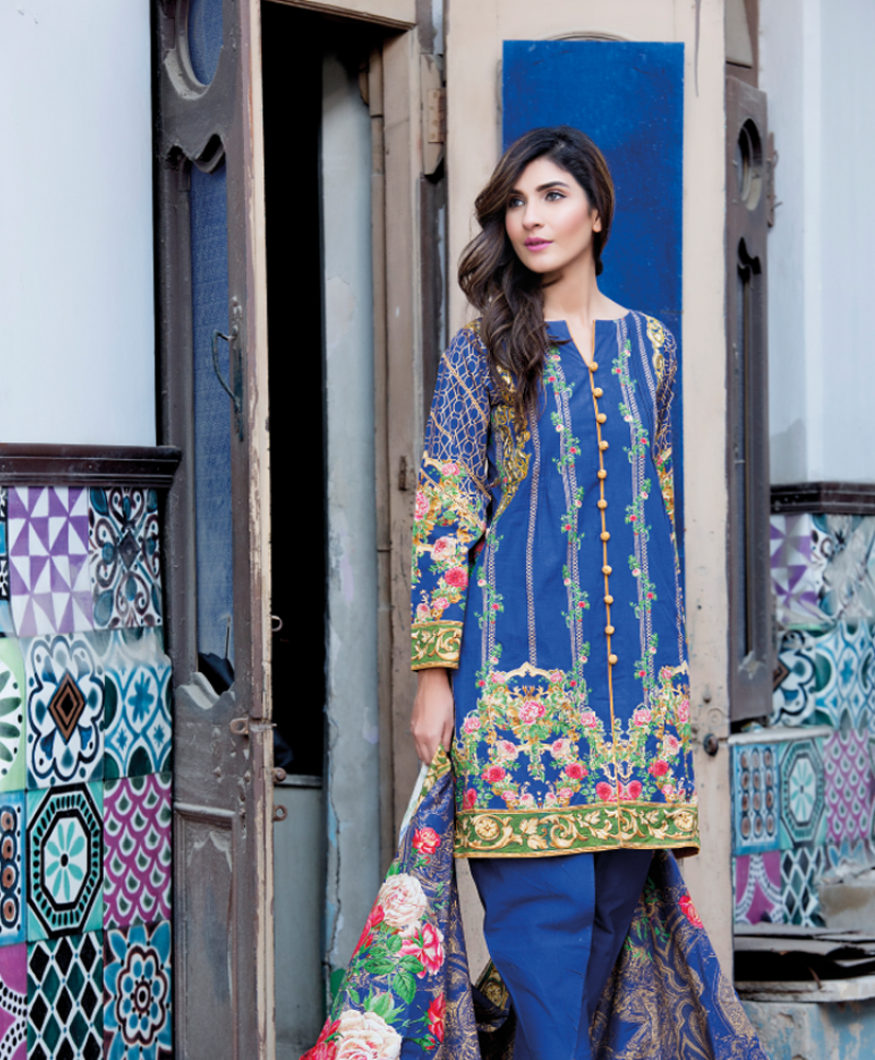 Royal blue khaddar suit by firdous