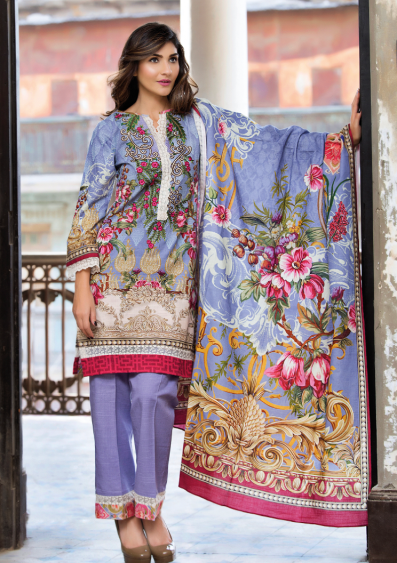 Violet floral printed khaddar winter suit