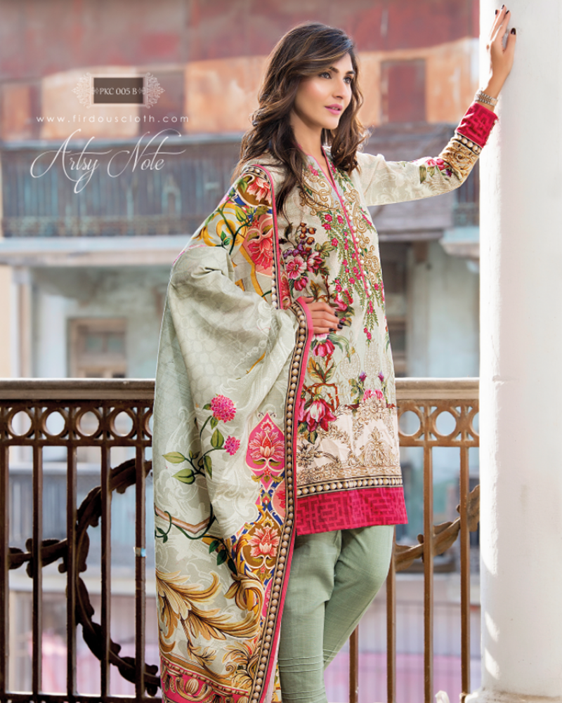 Grey Embroidered khaddar suit with shocking pink print
