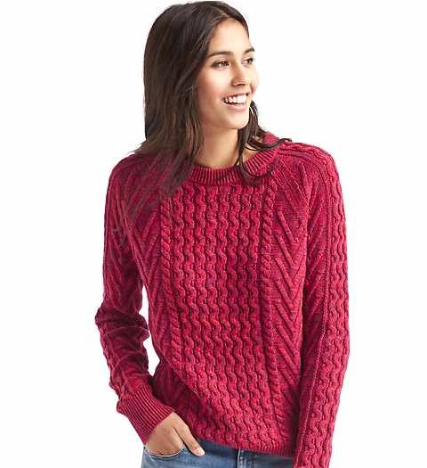 maroon cable knit sweater for women by Gap