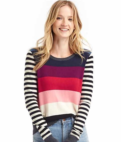 bright Striped crewneck sweater