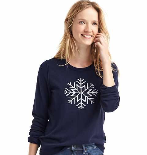 womenswear snowflake crewneck sweater