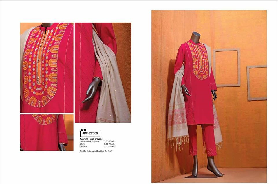junaid jamshed classical red winter dress with yellow embroiderey