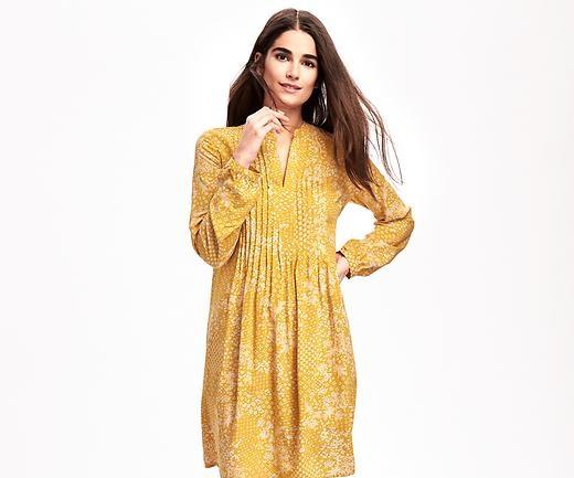 yellow double sided pleats winter dress