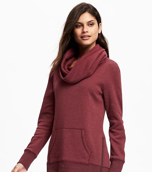 loose fit cowl neck fleece tunic sweater for ladies