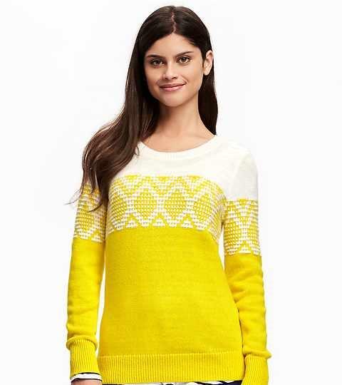 bright yellow fair isle sweater