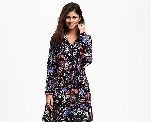 pleated V neck style winter dress 2016 design by Old navy