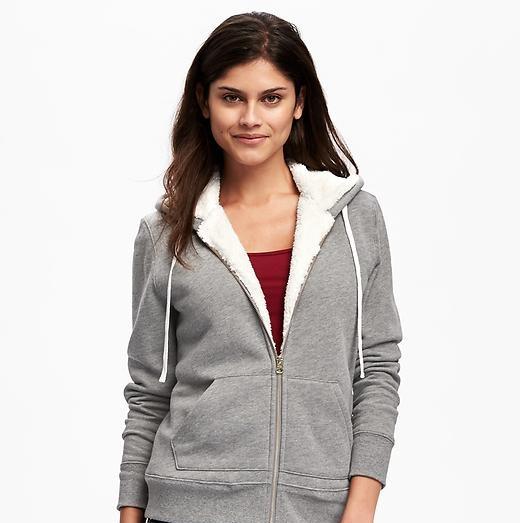 sherpa full line hoodie for girls