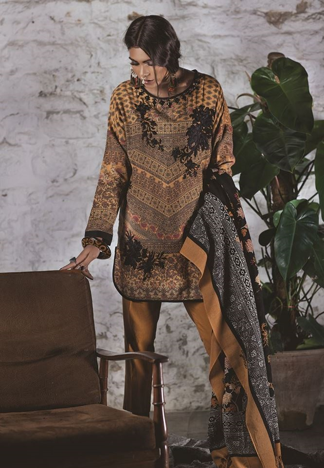 Printed khaddar shirt with black embroidery on neckline