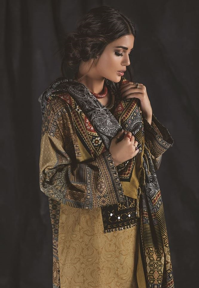karandi suit with shawl by outfitters ethnic winter collection