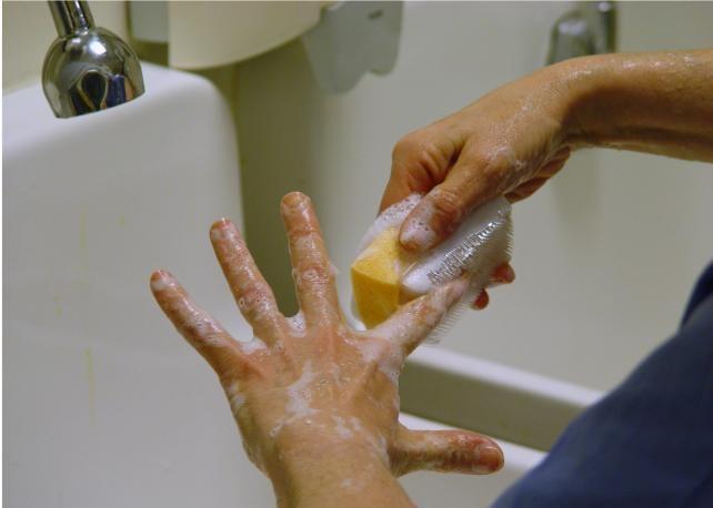 scrubbing nails