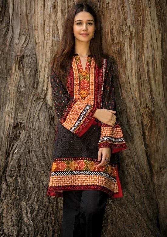black and red khaddar shirt by kayseria