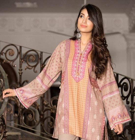 tea pink wider width khaddar shirt by kayseria