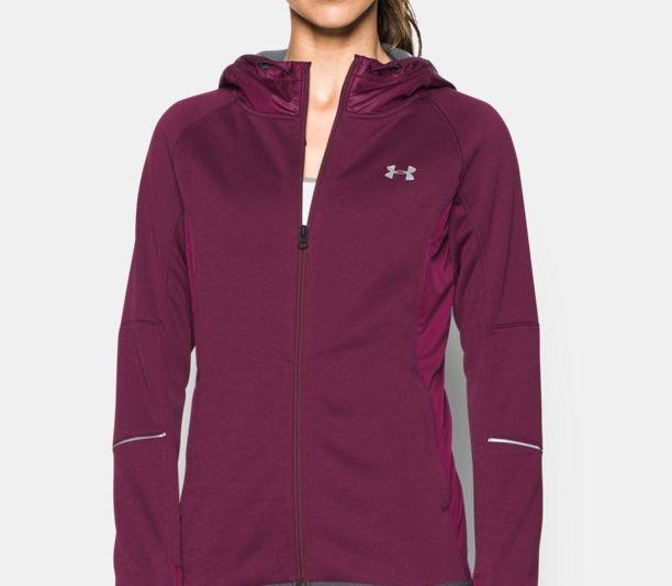 purple UA ColdGear Dobson Softer shell hoodie for sports girls