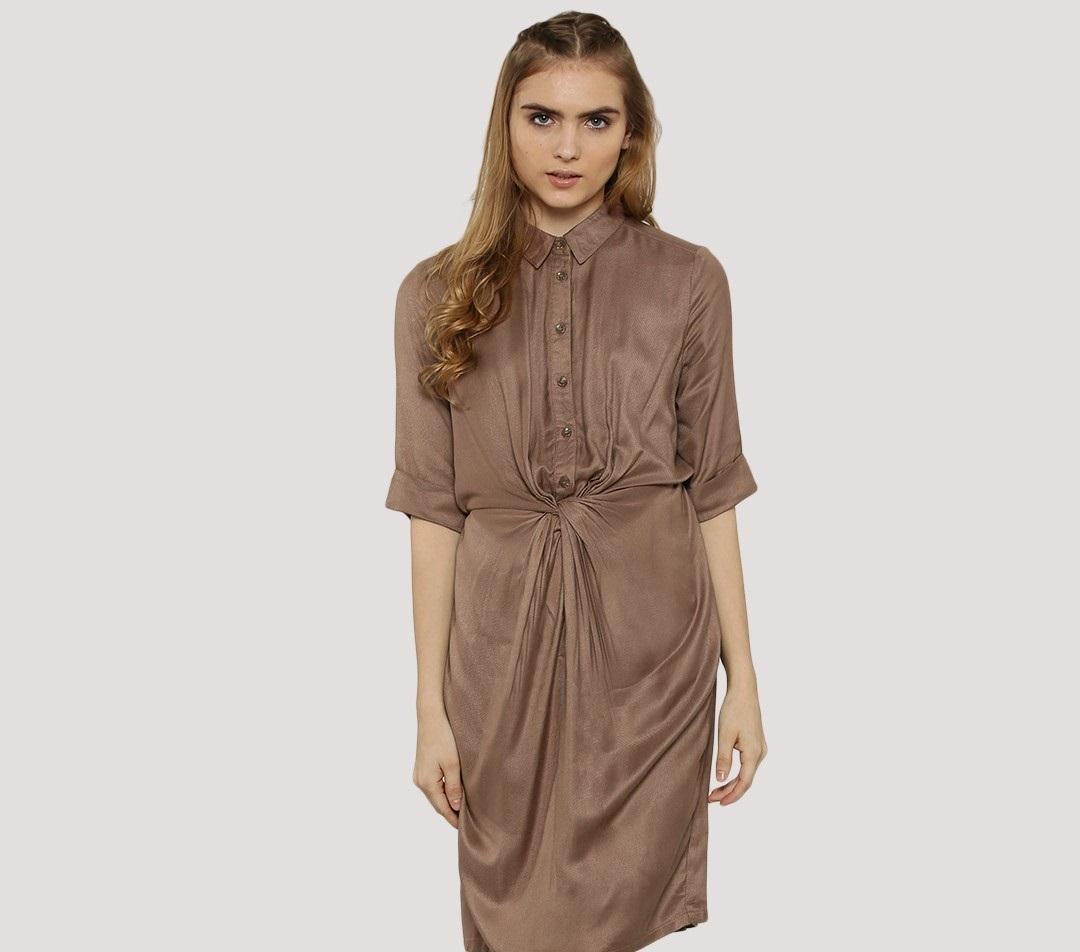 Koovs knot waist midi shirt winter dress
