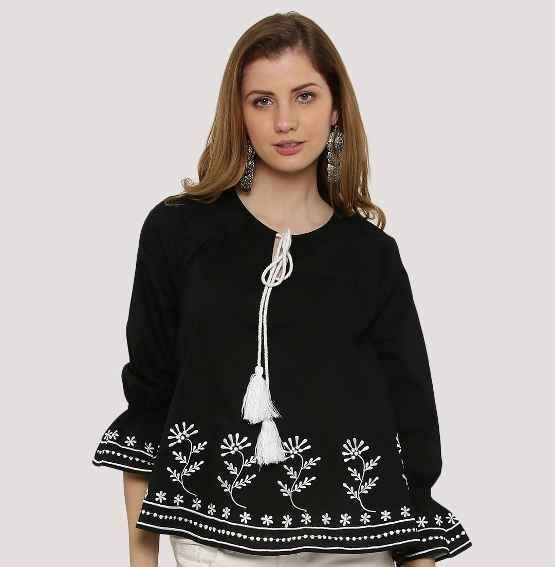 Koovs tie neck sing top with embroidery