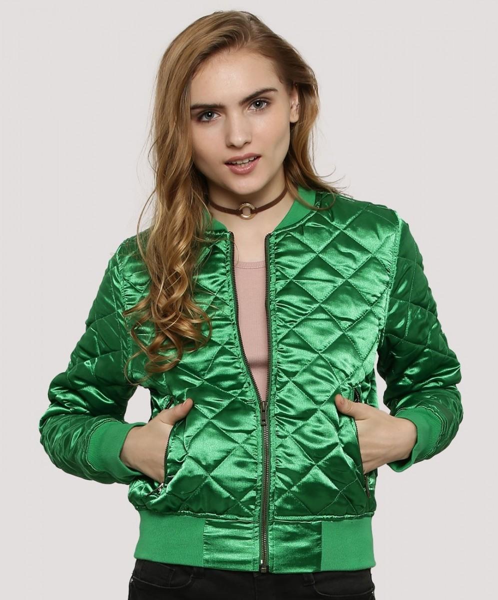 stylish shiny winter emerald green jacket by KOOVS