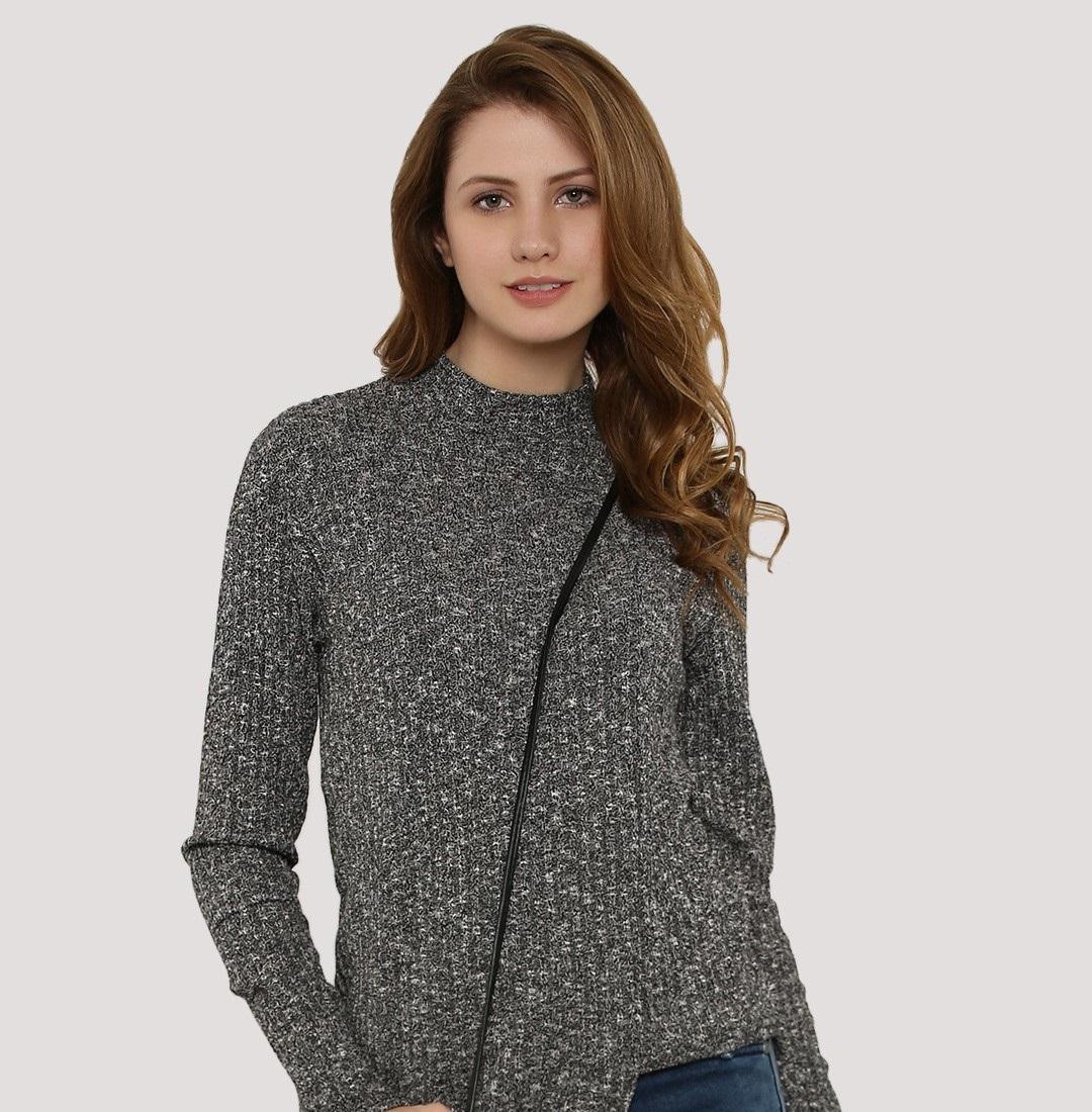 koovs grey crew-neck sweater for women