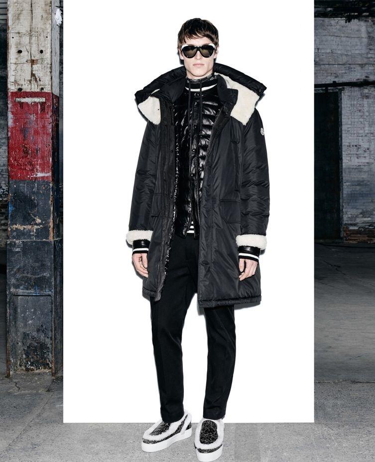 Moncler black stuffed jacket with detachable neck wrap