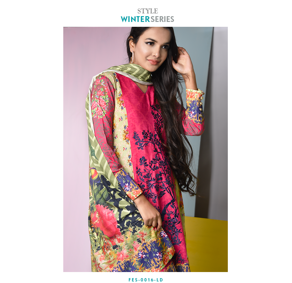 Nimsay beautiful winter embroidered linen suit in pink color