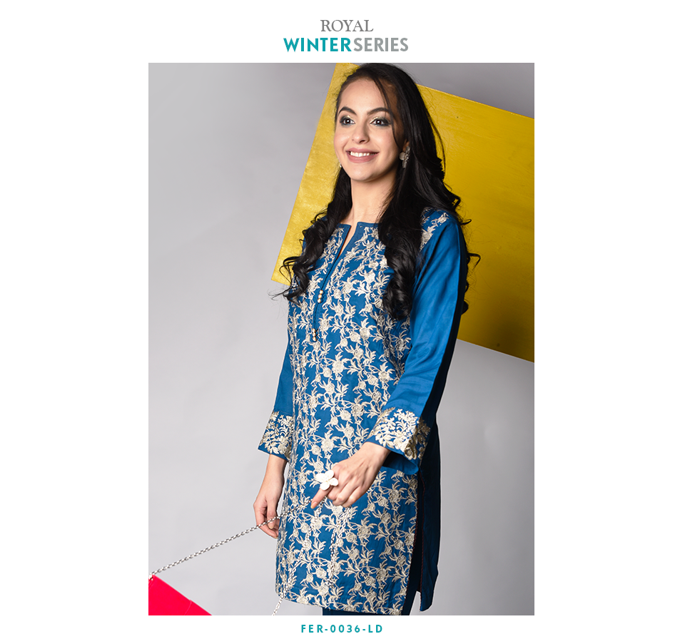 royal blue full embroidery linen two piece winter suit by Nimsay