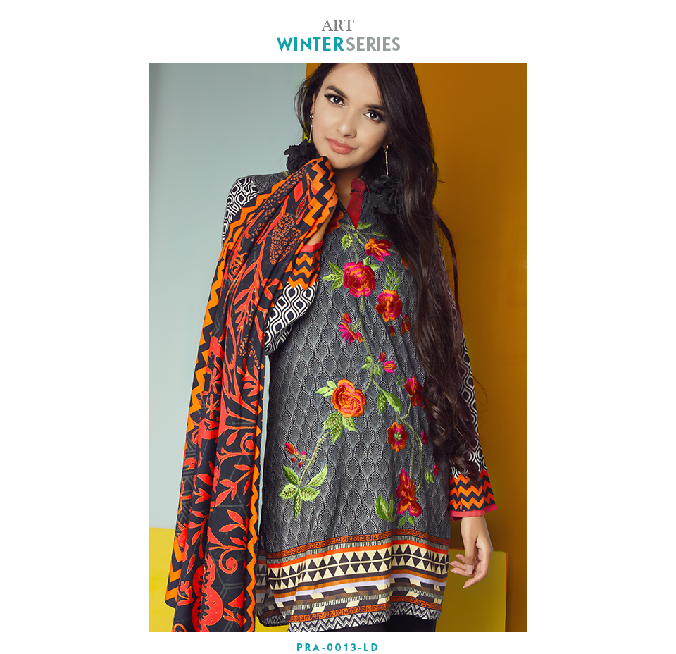 nimsay 3 piece embroidered linen stitched suit for winters