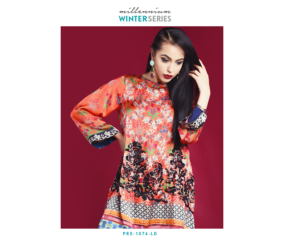 Nimsay Winter coral silk top with sequence details