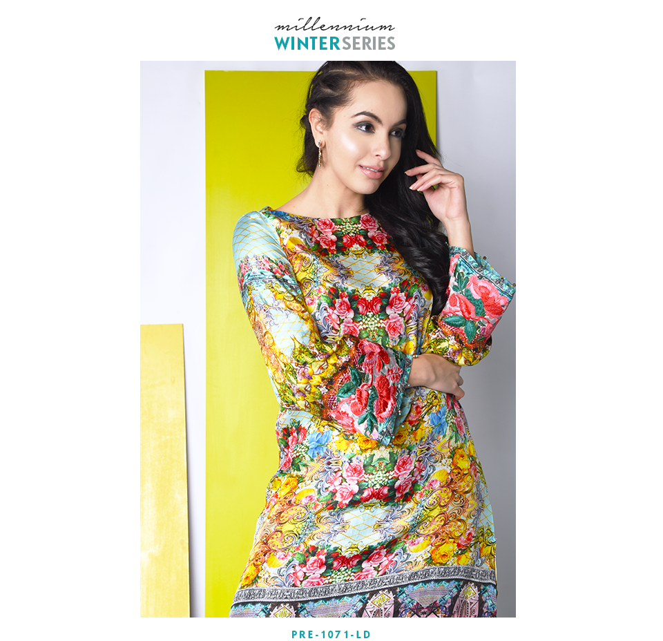 digital printed silk tunic with bright florall pattern