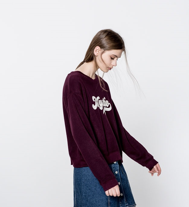 dark purple winter front text sweatshirt