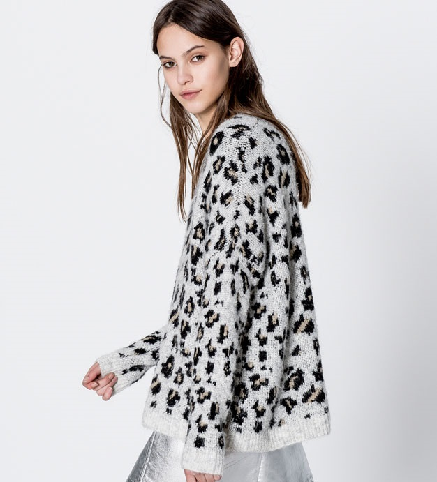 grey printed sweatshirt with black pattern