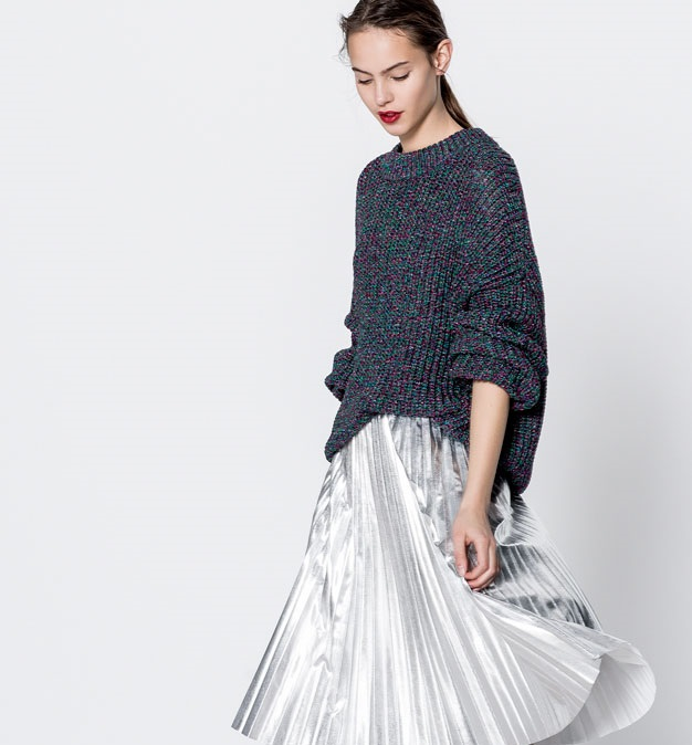 beautiful grey knit sweater with panel skirt