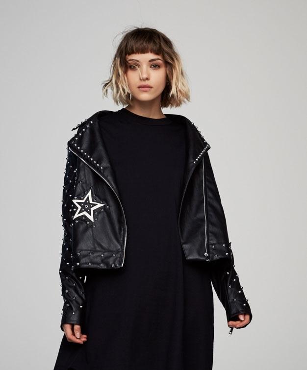 black patch luxurious biker jacket for women