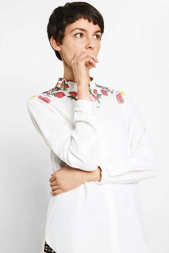 Desigaul Autumn Winter shirt with floral neckline