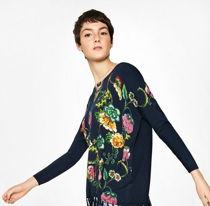 Desigaul Winter Pullover with floral print