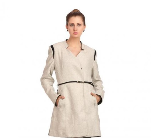 Madame white waist belt winter coat