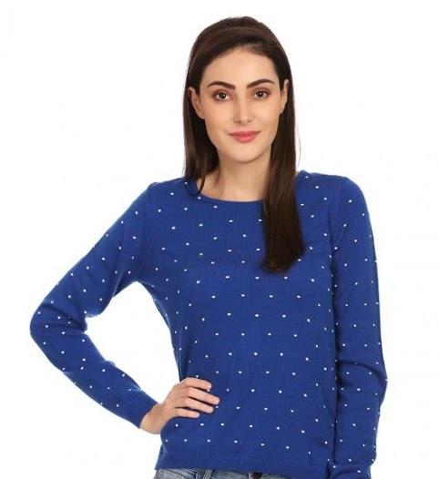 Madame royal blue dotted sweatshirt