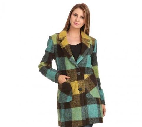 Madame green Winter check coat
