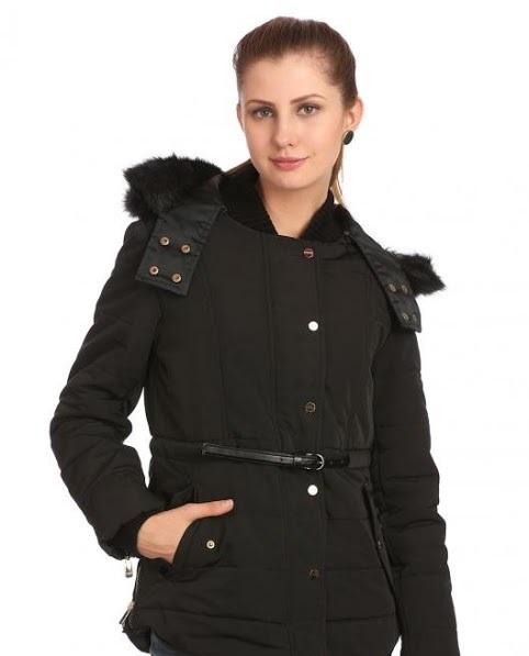 Madame black Winter jacket with detachable hood