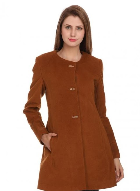 Madame camel brown A-line coat for women