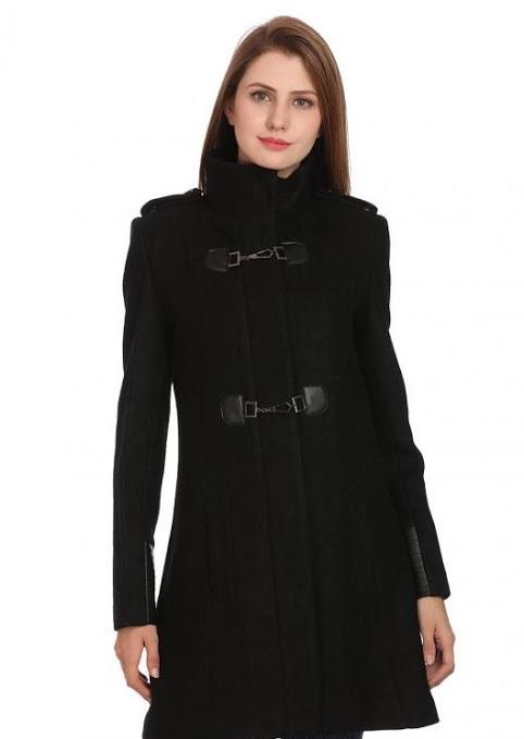 Madame jet black shoulder padded winter coat