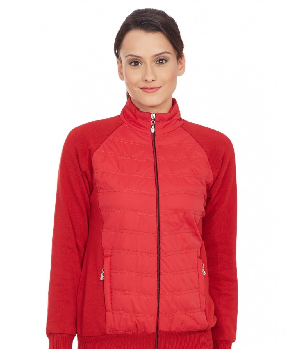 Monte Carlo Red Solid T Neck Winter Jacket for ladies